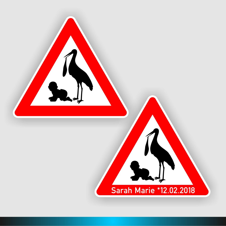 Beschriftungstafel Namensschild Baby Klapperstorch Storch zur Geburt Holz-Storch